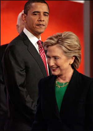 Democratic presidential candidates Hillary Clinton and Barack Obama. Credit: Chip Somodevilla/Getty