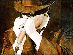 Dan Aykroyd as Elwood Blues in a detail from the cover of his book.