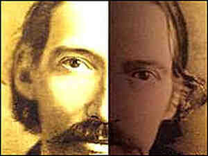 A detail of an image of Robert Louis Stevenson from the book's cover shows a split visage.