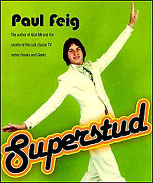 Photo of a young Paul Feig, dressed in 1970s white tuxedo