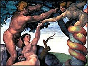 Adam, Eve and the Tree of Knowledge in a detail of the book cover.