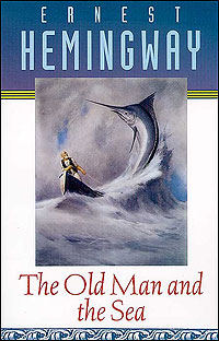 A cover for a 1995 reprinting of Hemingway's short novel shows man battling a marlin.