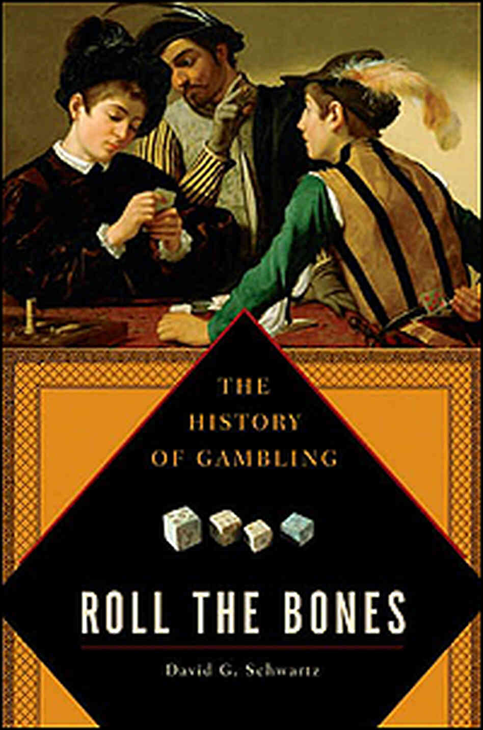 Cover of 'Roll the Bones' shows gamblers from an earlier century.