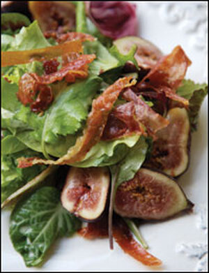 Figs, Greens, and Prosciutto with Gorgonzola Cream Dressing