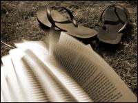 Book and flip-flops