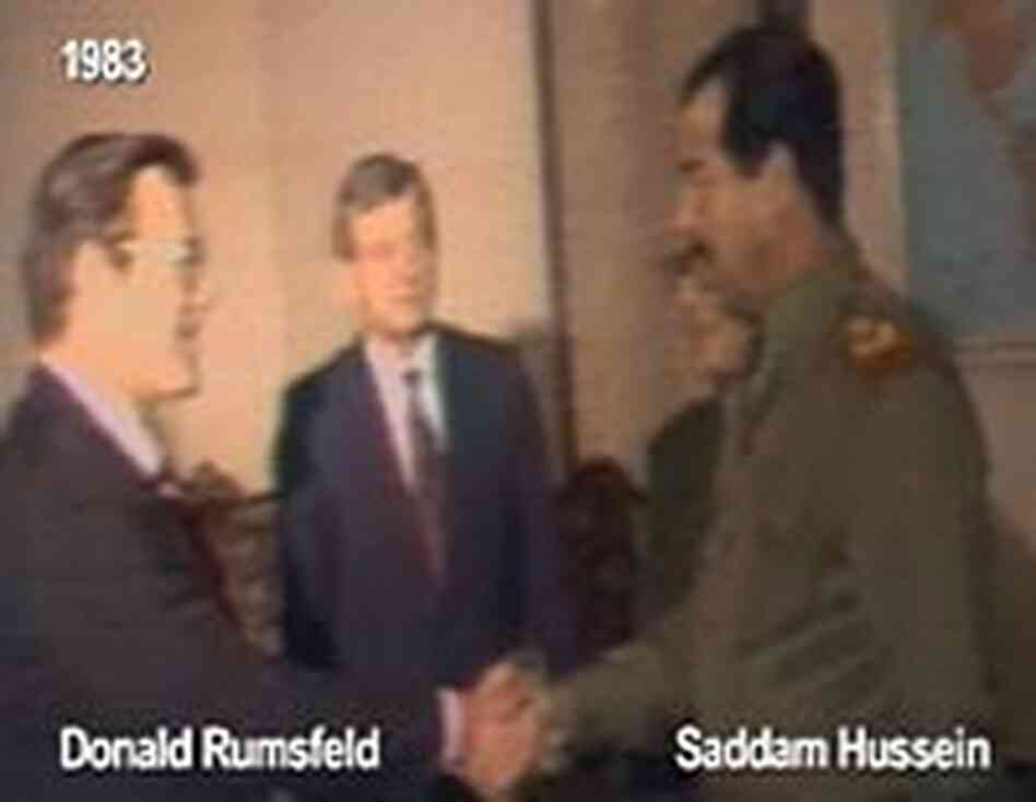 Rumsfeld and Saddam meet in 1983