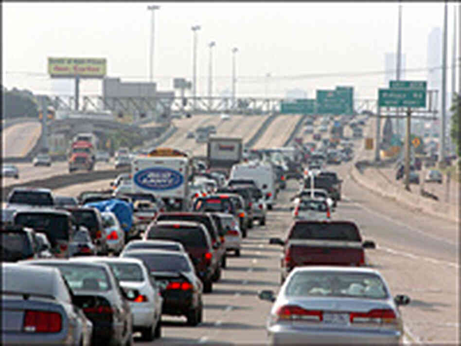 Bumper-to-bumper-traffic heads out of Galveston, Texas toward  Houston, Sept. 21