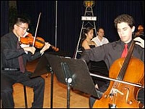The Waleno Trio: Foster Wang (from left), Victoria Lee and Anthony Sabatino