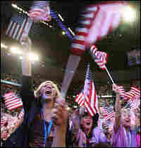 Delegates wave flags while watching former President Bill Clinton speak at the Democratic National C