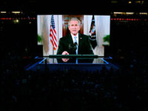 "In his speech via satellite, President George Bush said: ""The man we need is John McCain."""