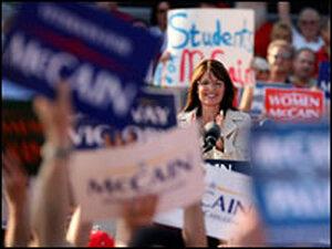Alaska Gov. Sarah Palin speaks at an Aug. 31 rally in O'Fallon, Mo.