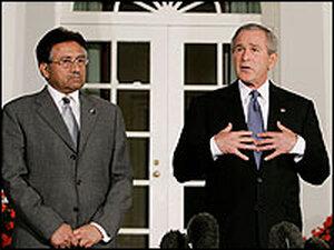 U.S. President George W. Bush, with Pakistani President Pervez Musharraf