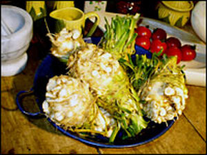 Underneath its warty exterior lies celeriac's perfect, ivory flesh resembles that of a turnip