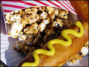 Corn dogs and Cracker Jack