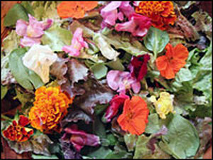 A mix of snapdragons, marigolds, violets and nasturtiums brighten up even the most ordinary salad.