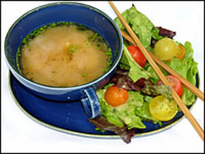 Soup and salad, miso-style.