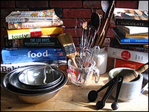 Cookbooks, kitchen utensils