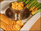 Pimento cheese on celery and crackers