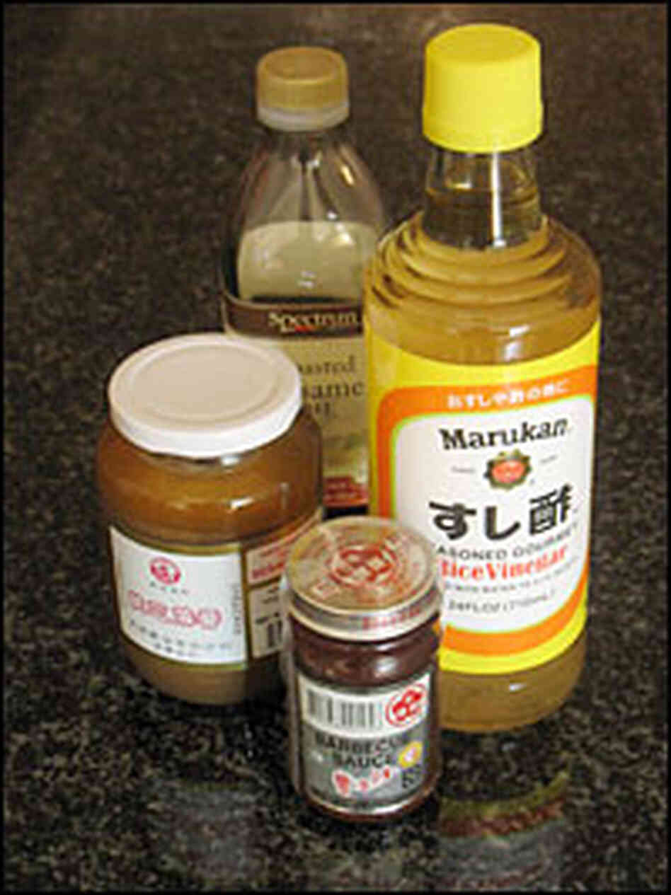Sesame oil, soy sauce, rice vinegar and Chinese barbecue sauce