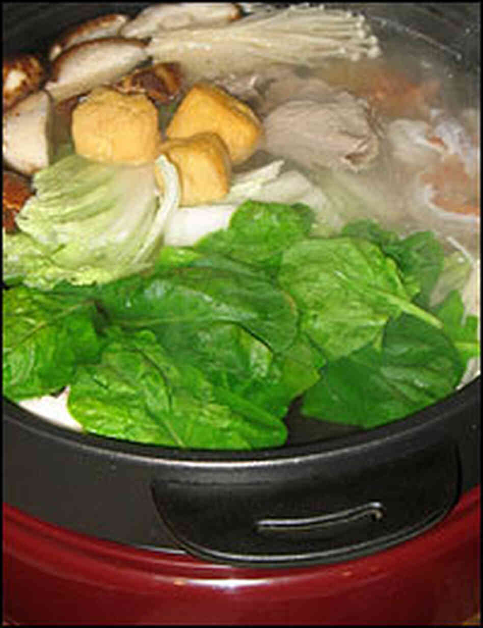 Simmering hot pot