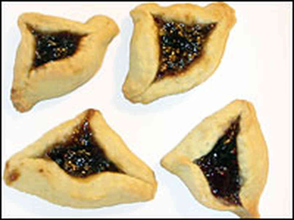 hide caption Hamantaschen, a triangular cookie usually filled with ...