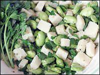Fava bean and pecorino salad