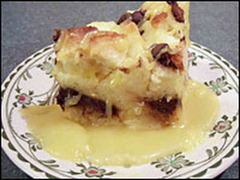 Chocolate-laced bread pudding with bourbon sauce