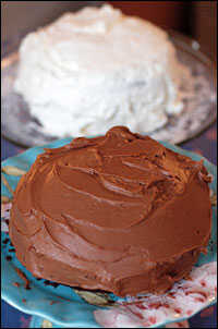 Chocolate cake with 'butter cream'