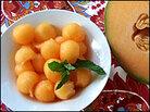 Light, sweet cantaloupe — a variety of muskmelon.