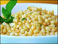 Sauteed Corn with Ginger, Mint and Lemon