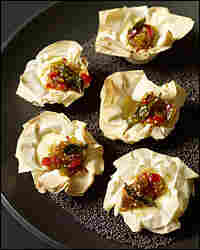 Savory Mini Cheesecakes With Red Pepper And Green Tomatillo Chutney