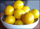 A white bowl full of Meyer lemons