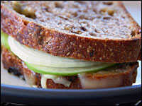 Grilled Jarlsberg And Granny Smith Apple On Raisin Walnut Bread