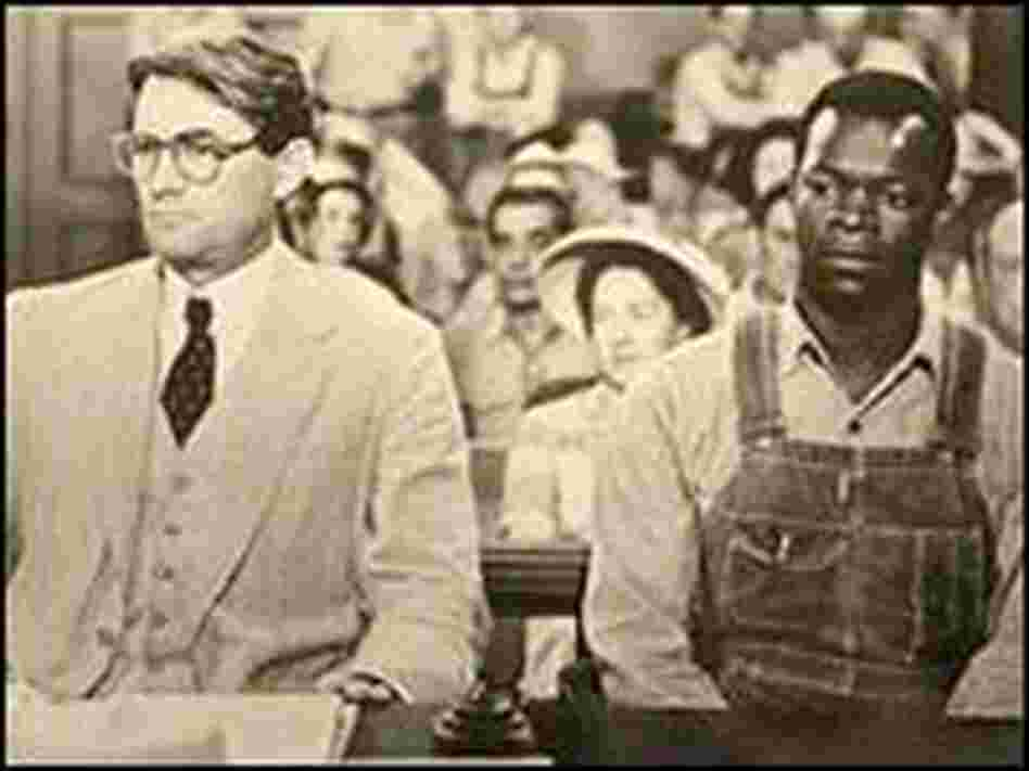 Gregory Peck and Brock Peters at the defense table in 'To Kill a Mockingbird.'