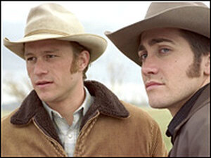 Heath Ledger and Jake Gyllenhaal in Brokeback Mountain.