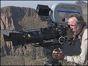 Tommy Lee Jones behind the camera, directing his film 'The Three Burials of Melquiades Estrada'