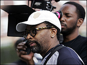 Spike Lee filming New Orleans mayoral election. Getty Images/Chris Graythen