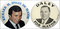 Each Daley is pictured on buttons from their mayoral campaigns.