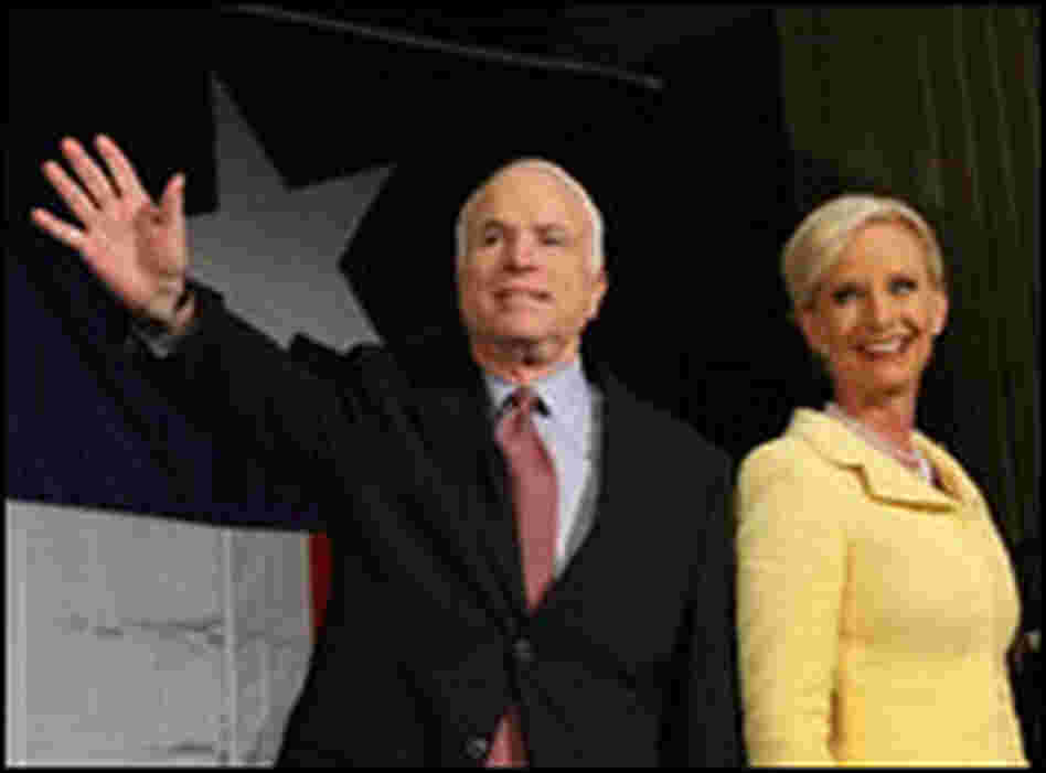 The McCains wave to supporters after Sen. John McCain won the Republican nomination on March 4.