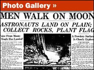 Times Headline, Men Walk  On Moon
