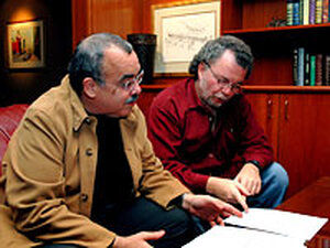 Guitarist Manuel Barrueco (right) and composer Roberto Sierra