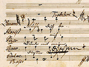 """Manuscript page from Beethoven's opera """"Fidelio."""""""