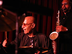 Paul Motian (left) and Joe Lovano, on stage at the Village Vanguard.