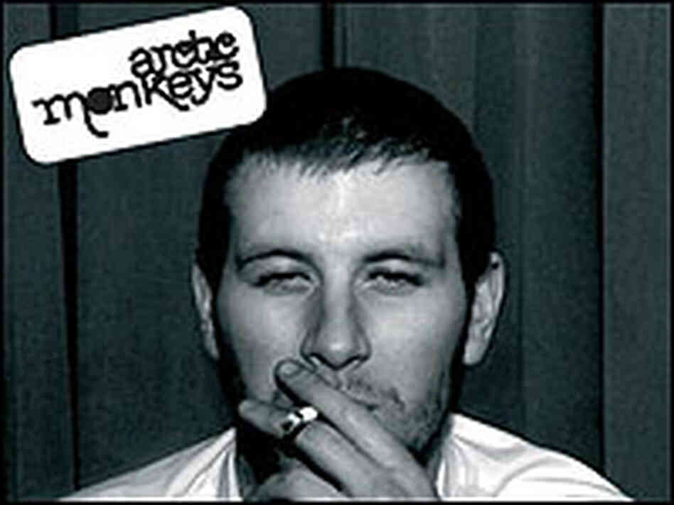 Detail from the cover of the Arctic Monkeys' album shows a man smoking a cigarette.