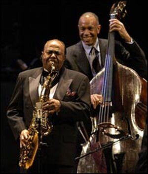 Backed by bassist John Clayton, Benny Golson steps up for a solo.