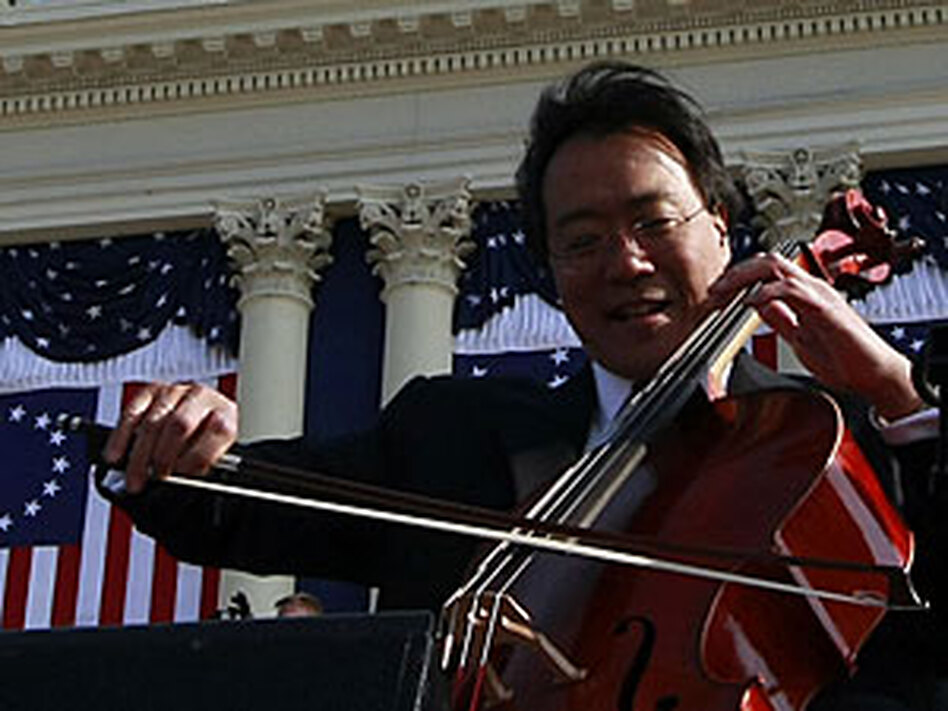 Yo-Yo Ma performs at Tuesday's inauguration. Not pictured, but beside him, are Itzhak Perlman, Anthony McGill and Gabriela Montero.