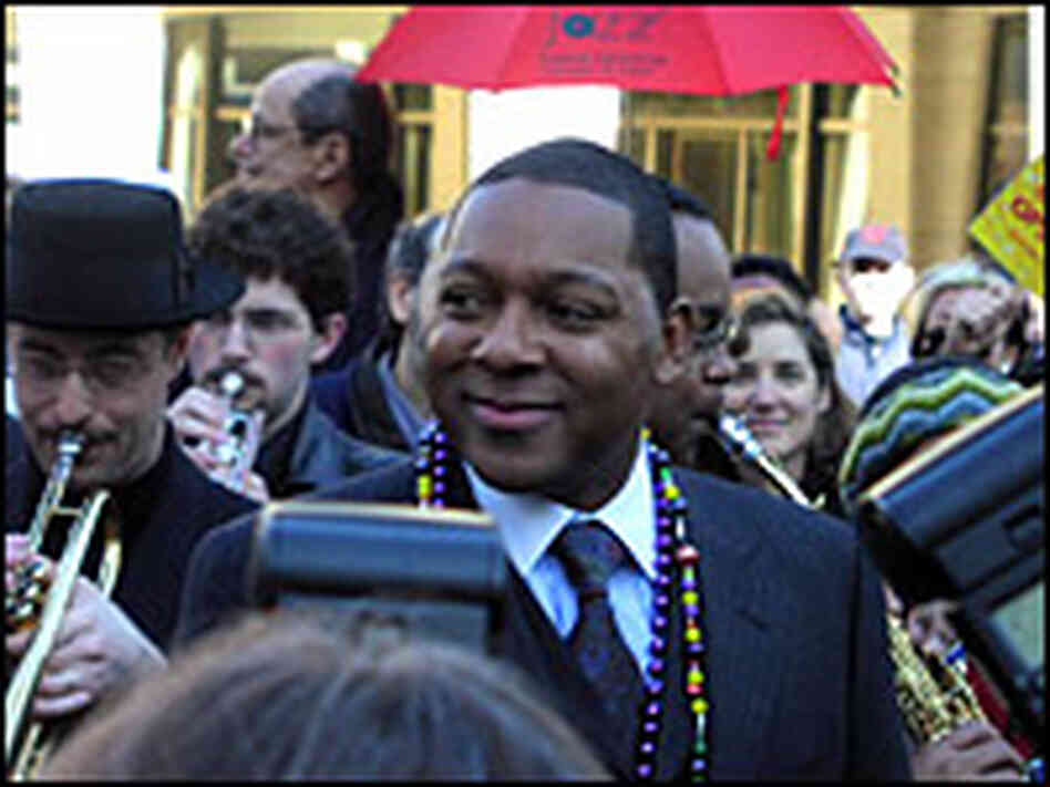Wynton Marsalis led a parade Monday celebrating the opening of Jazz at Lincoln Center's new home.