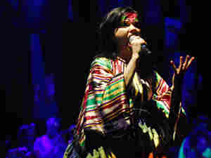 Bjork performs live at the United Palace in New York City.