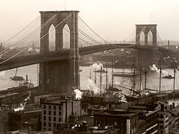 The Brooklyn Bridge, as Antonin Dvorak would have seen it when he lived and worked in New York in the 1890s. (Getty Images)