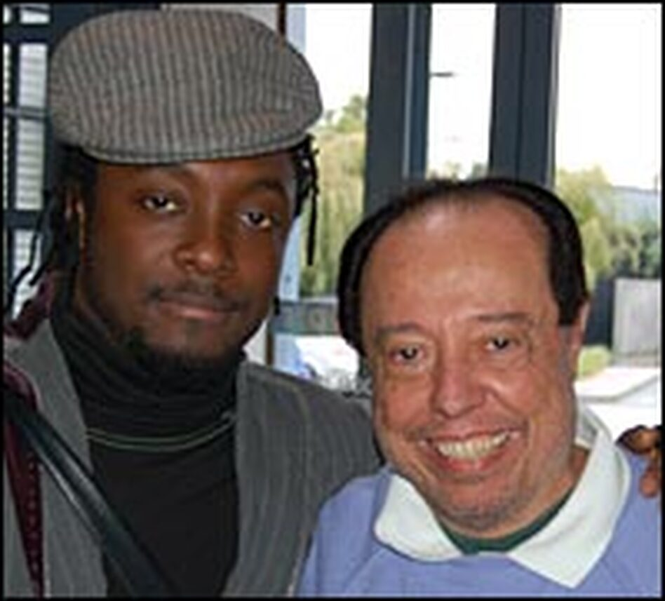 Will.i.am of the Black Eyed Peas, left, and Sergio Mendes at the NPR West studios in Culver City, Calif.